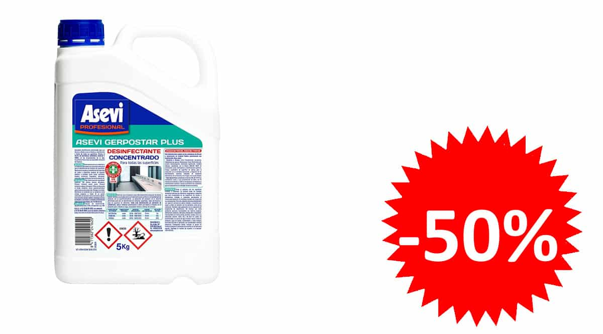 Desinfectante profesional Asevi Gerpostar Plus barato, desinfectantes de marca baratos, ofertas productos de limpieza y desinfección, chollo
