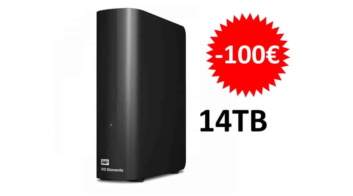 ¡Precio mínimo histórico! Disco duro externo WD Elements Desktop de 14TB sólo 219 euros. Te ahorras 100 euros.