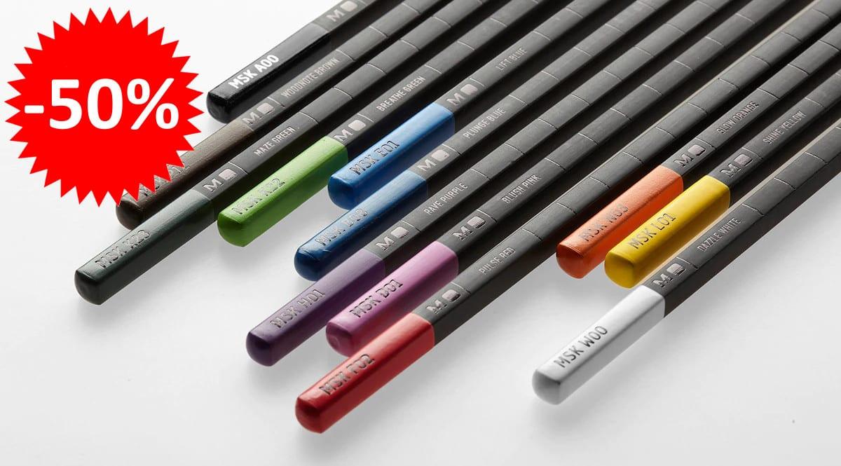 ¡Precio mínimo histórico! Estuche de 12 lápices colores Moleskine sólo 12.45 euros. 50% de descuento.