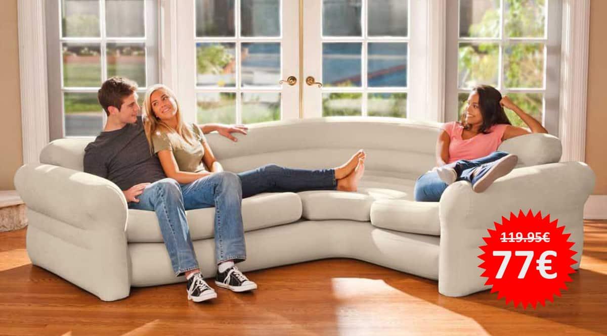 Intex Sofá Indoor Corner Inflable barato, sofás hinchables de marca baratos, ofertas hogar, chollo