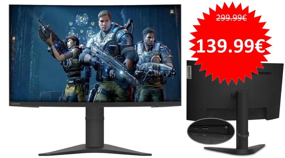 ¡Código descuento! Monitor gaming de 27″ y 165Hz Lenovo G27c-10 sólo 139 euros. 53% de descuento.