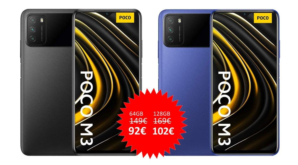 ¡Código descuento! Móvil Xiaomi POCO M3 6.53″ desde sólo 92 euros. Te ahorras hasta 67 euros. En azul y en negro.