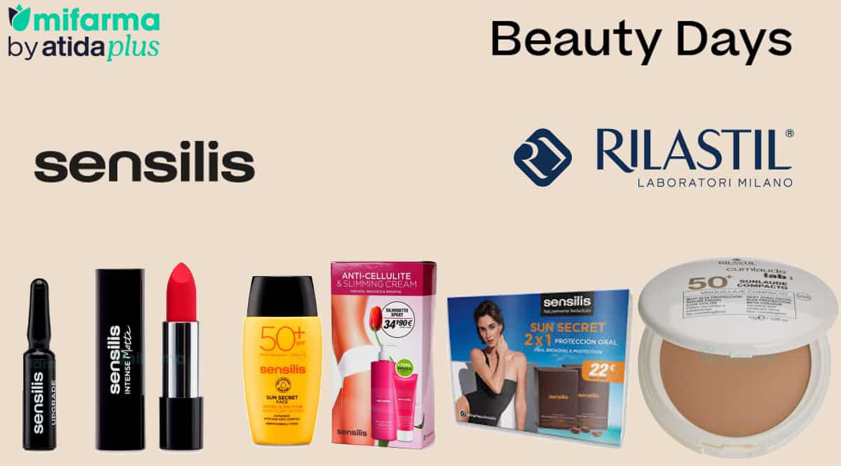 Ofertas en maquillajes, cremas y protectores solares Sensilis y Rilastil, cosméticos de marca baratos, ofertas en belleza, chollo