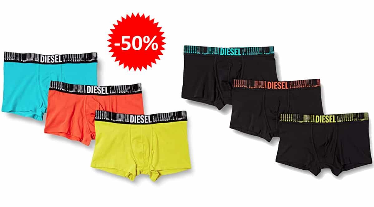 Pack de 3 calzoncillos bóxer Diesel UMBX baratos, ropa de marca barata, ofertase en calzoncillos chollo