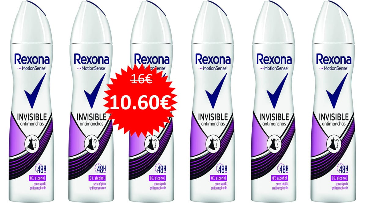 Pack de 6 botes de desodorante Rexona Invisible para mujer barato. Ofertas en supermercado, chollo