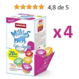 Pack de 80 botecitos de leche para gatos Animonda Milkies barato, productos para mascotas baratos, ofertas para gatos