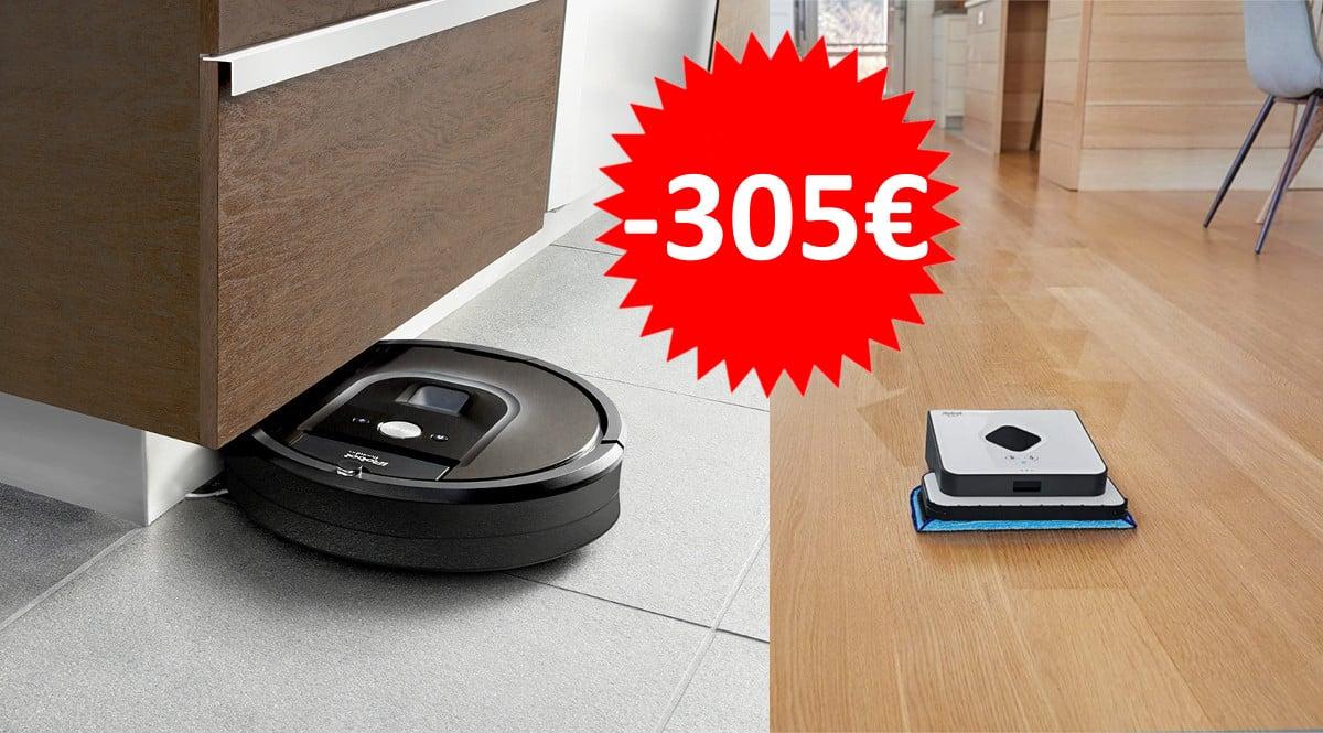 Pack iRobot Roomba 980 con iRobot Braava 390T barato. Ofertas en Roomba, Roomba barata, chollo