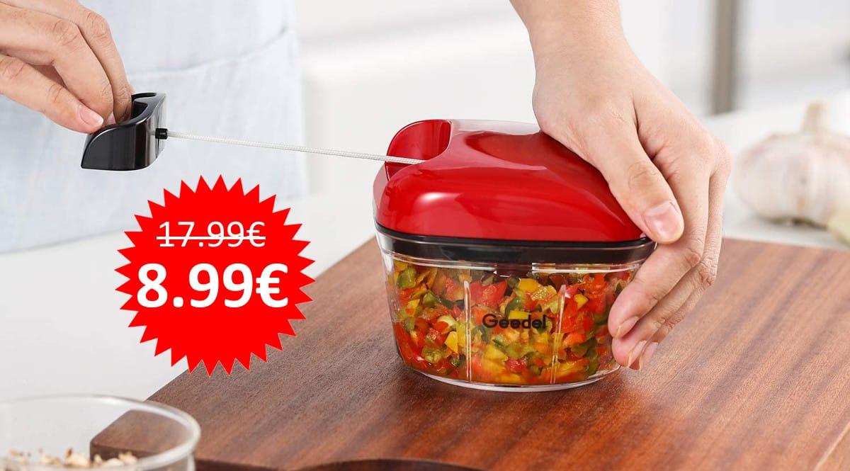 ¡Código descuento! Picadora de alimentos Geedel sólo 8.99 euros. 50% de descuento. 3 colores.