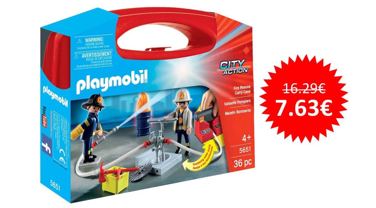 ¡¡Chollo!! Maletín grande de bomberos Playmobil sólo 7.63 euros. 53% de descuento.