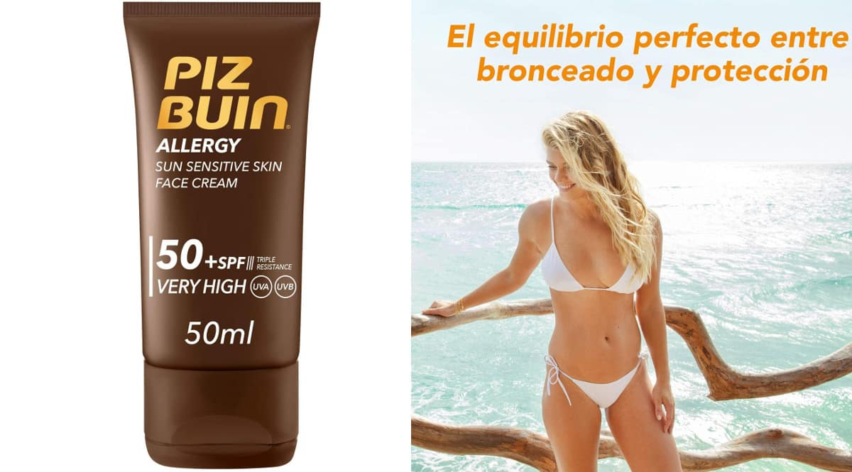 Protector Solar Facial Piz Buin Allergy SPF 50+ barato, cremas solares de marca baratas, ofertas en protector solar, chollo
