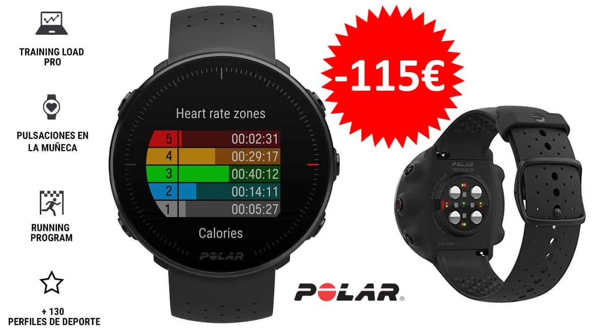 ¡¡Chollo!! Pulsómetro GPS Polar Vantage M sólo 164 euros. Ahórrate 115 euros.