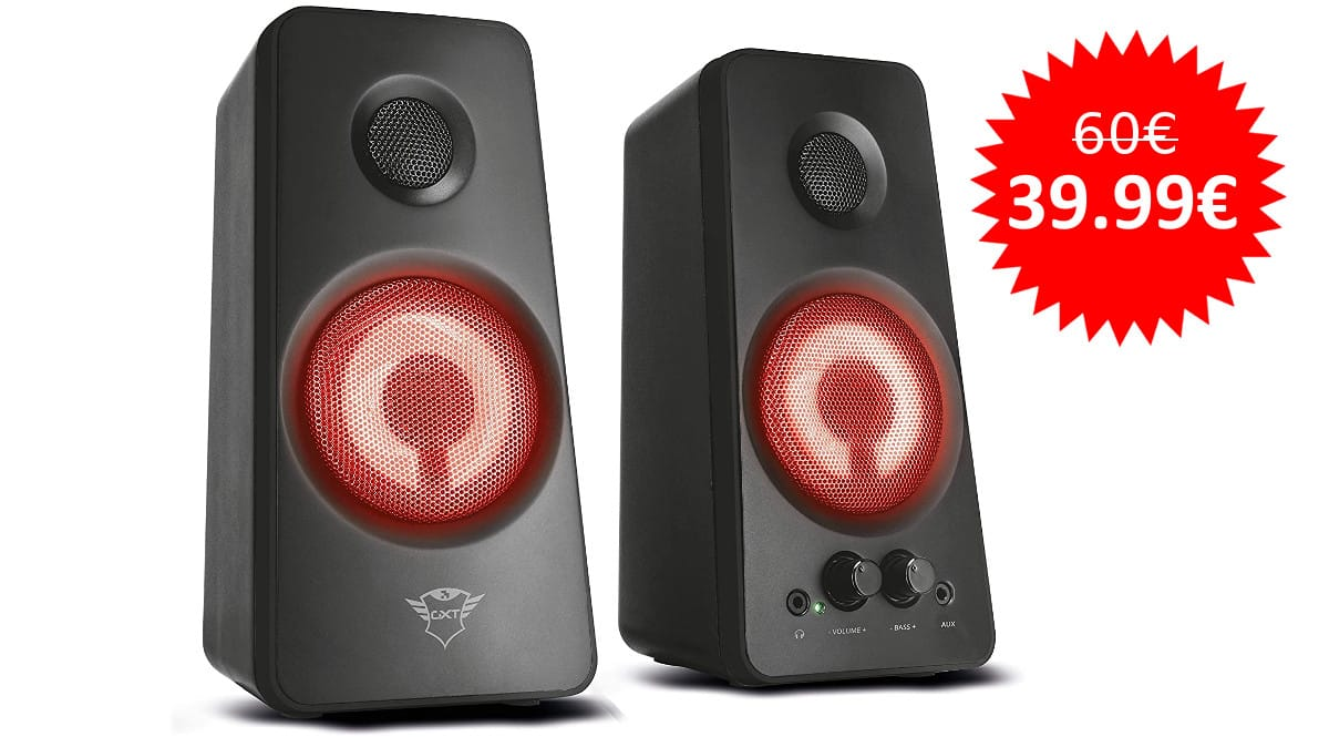 ¡¡Chollo!! Set de altavoces iluminados Trust Gaming GXT 608 sólo 39.99 euros.
