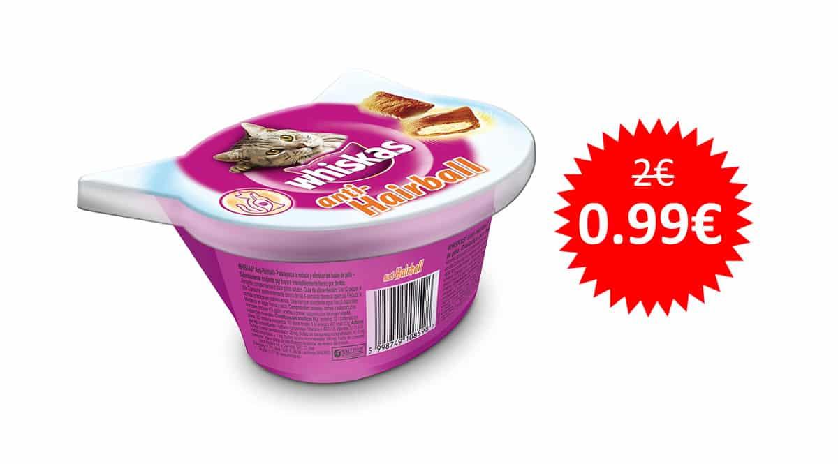 ¡Precio mínimo histórico! Snacks para gatos Whiskas Anti-Hairball sólo 0.99 euros. 50% de descuento.