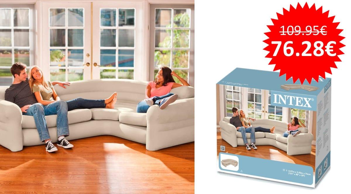 ¡¡Chollo!! Sofá rinconera hinchable Intex 68575N sólo 76 euros.