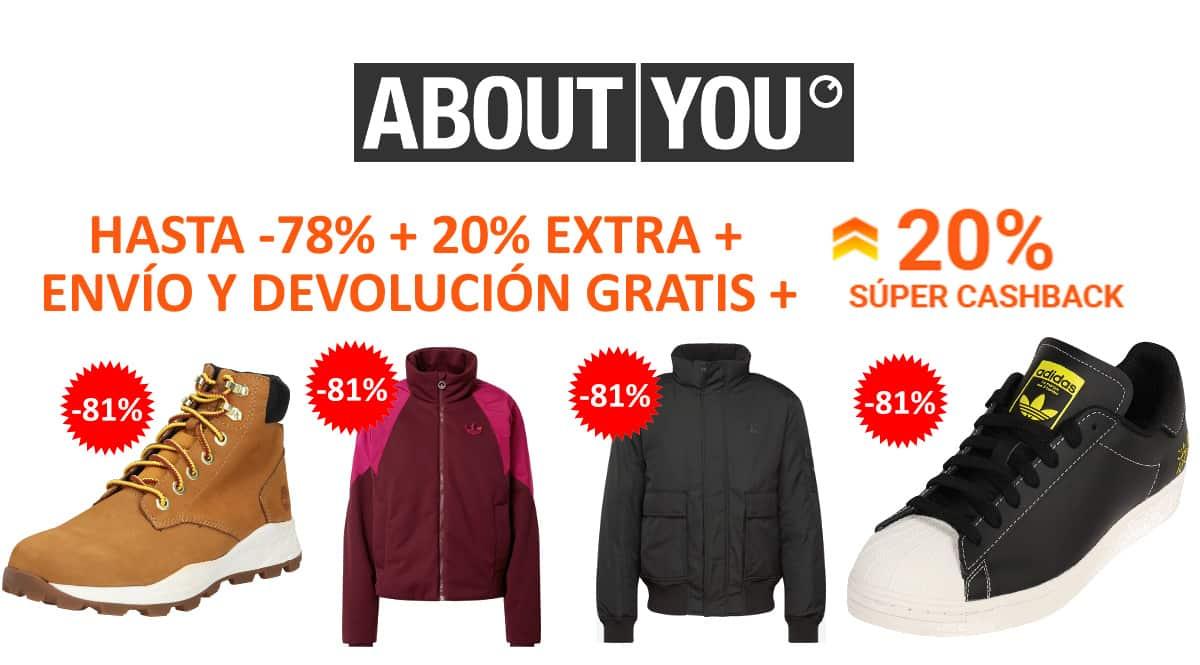 Super Cashback en About You, ropa de marca barata, ofertas en calzado chollo