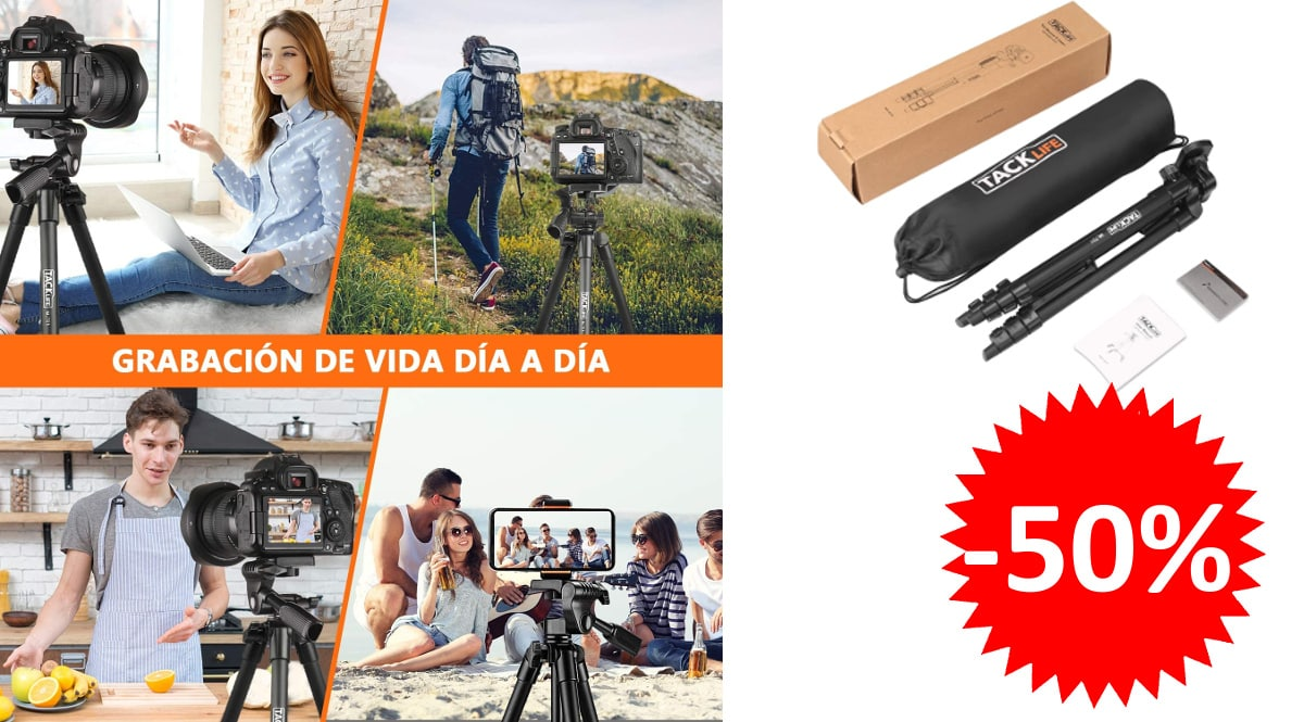 Trípode para cámara o móvil TACKLIFE - MLT01 barato, trípodes de marca baratos, ofertas fotografía, chollo