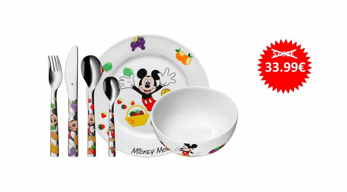 Vajilla infantil de 6 piezas WMF Mickey Mouse barata, vajillas baratas, ofertas para niños chollo