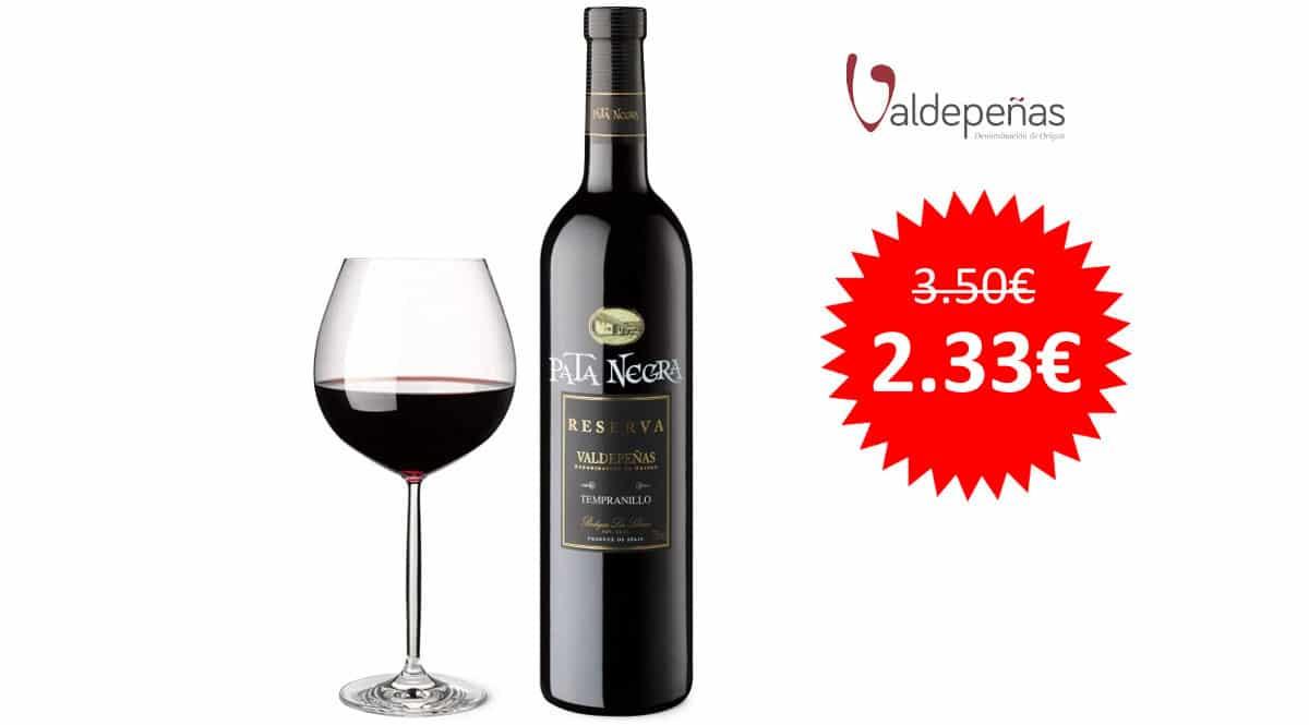 ¡¡Chollo!! Vino tinto Pata Negra D.O. Valdepeñas Reserva sólo 2.33 euros.