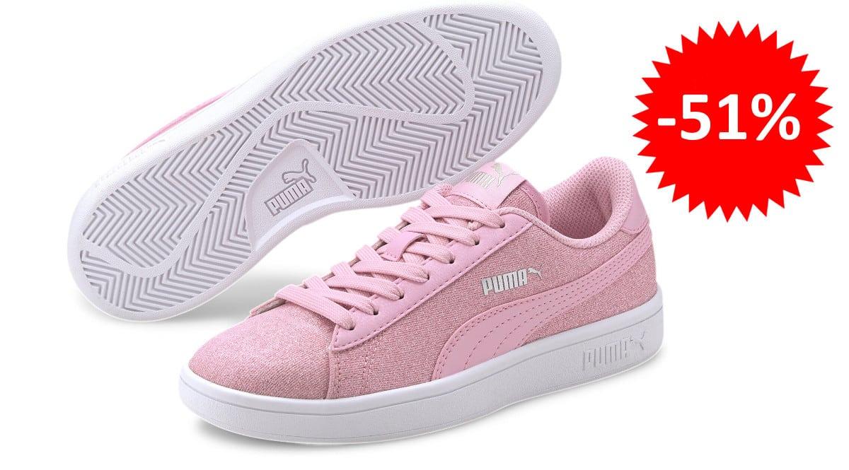 ¡¡Chollo!! Zapatillas para niña Puma Smash v2 Glitz Glam sólo 22 euros. 51% de descuento.
