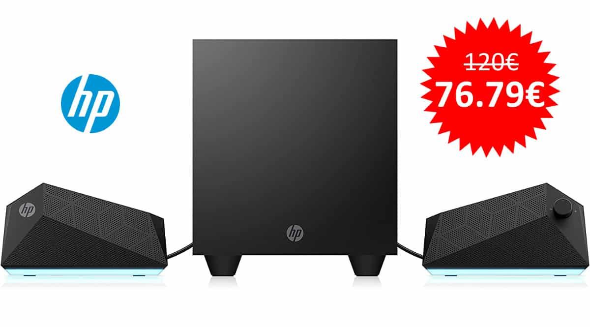 ¡Precio mínimo histórico! Altavoces gaming 2.1 HP X1000 sólo 76 euros. Te ahorras 43 euros.