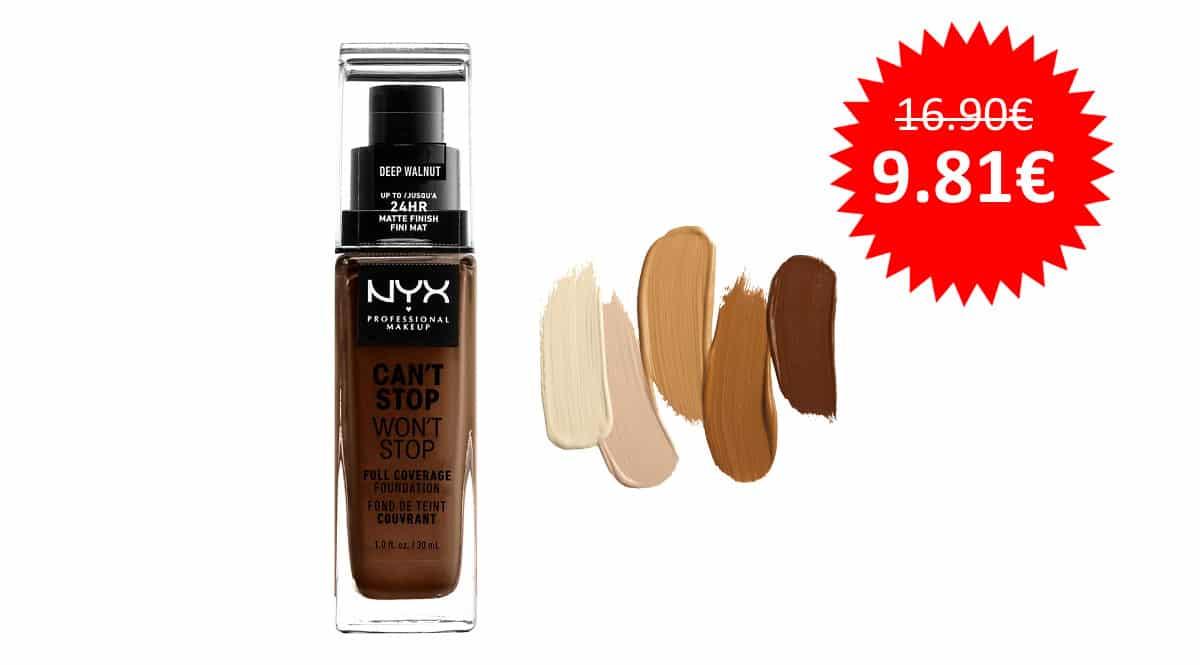 ¡Precio mínimo histórico! Base de maquillaje NYX Professional Makeup Can't Stop Won't Stop sólo 9.81 euros. Varios colores.