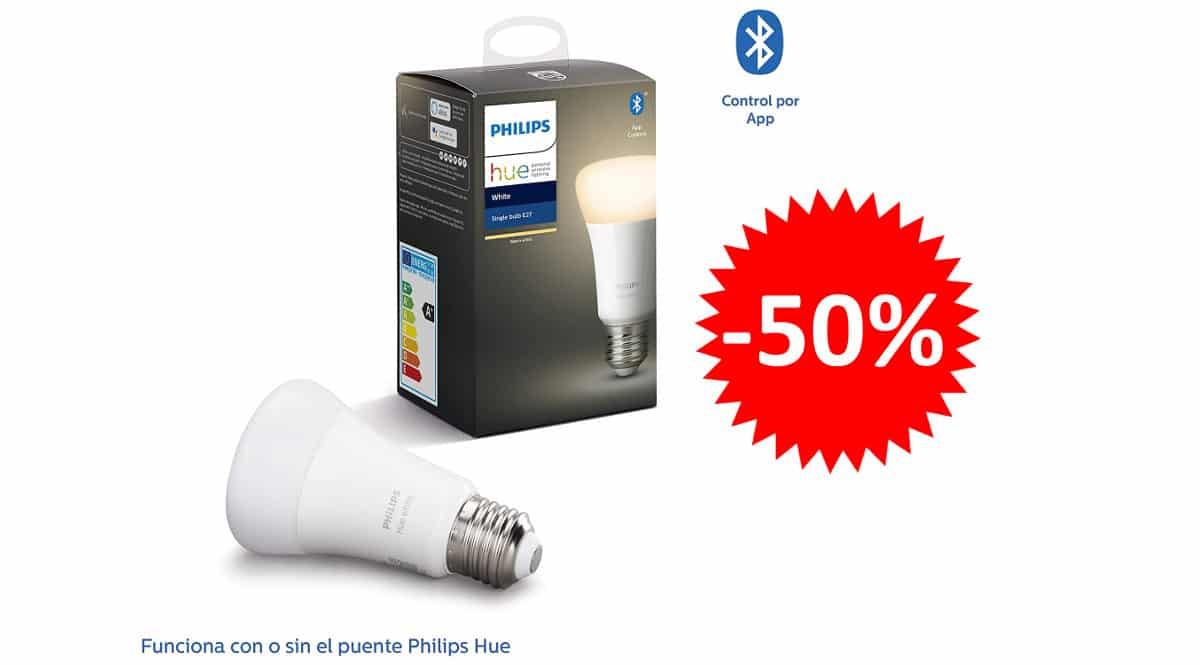 ¡Precio mínimo histórico! Bombilla inteligente Bluetooth LED Philips Hue E27 8.5W sólo 10 euros. 50% de descuento.