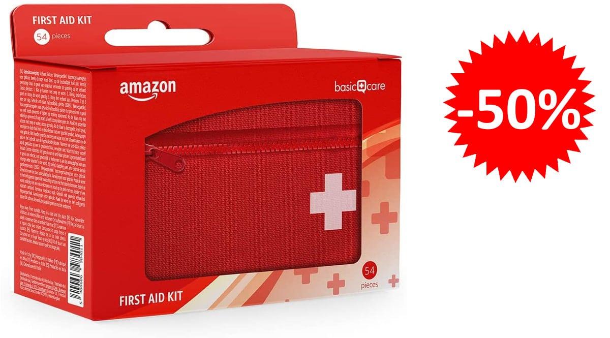 Botiquín de primeros auxilios con 54 piezas Amazon Basics barato, botiquines de marca baratos, ofertas salud y cuidado personal, chollo