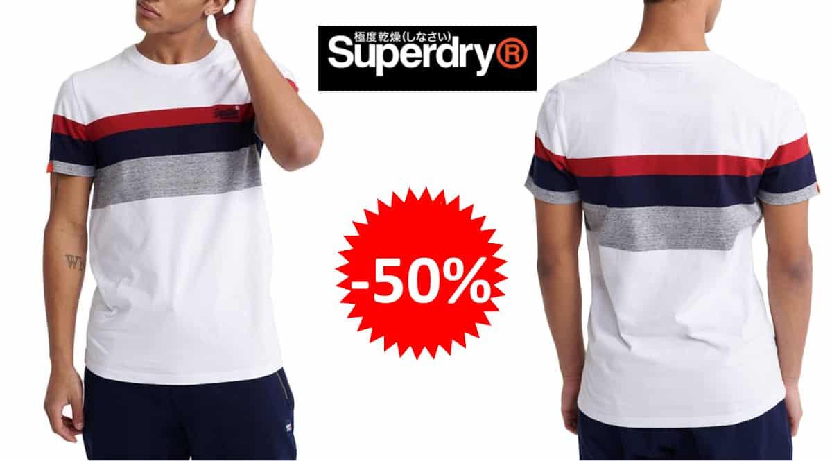 Camiseta Superdry Classic Stripe barata, camisetas de marca baratas, ofertas en ropa, chollo