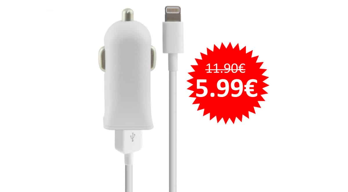 ¡¡Chollo!! Cargador de coche Ksix Lightning 1A para iPhone sólo 5.99 euros. 50% de descuento.