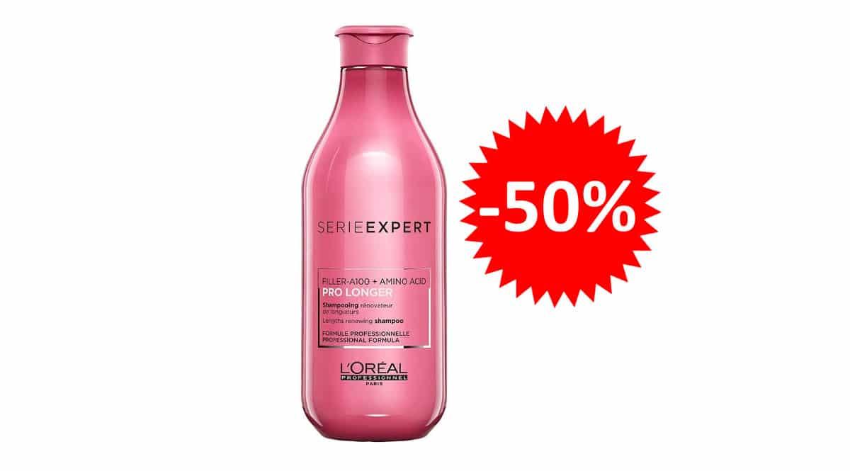 ¡Precio mínimo histórico! Champú renovador de puntas L'Oréal Professionnel Pro Longer 300ml sólo 5.55 euros. 50% de descuento.