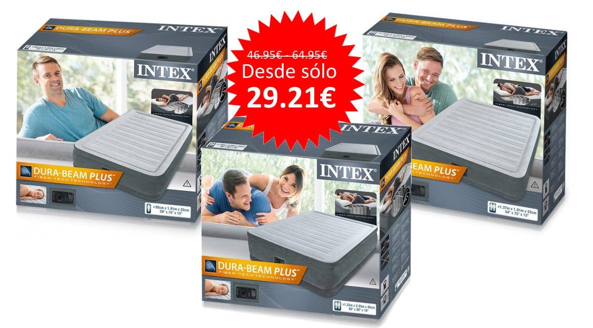 ¡Código descuento! Colchones hinchables Intex Dura Beam Plus Comfort Plush desde sólo 29 euros. 3 medidas.