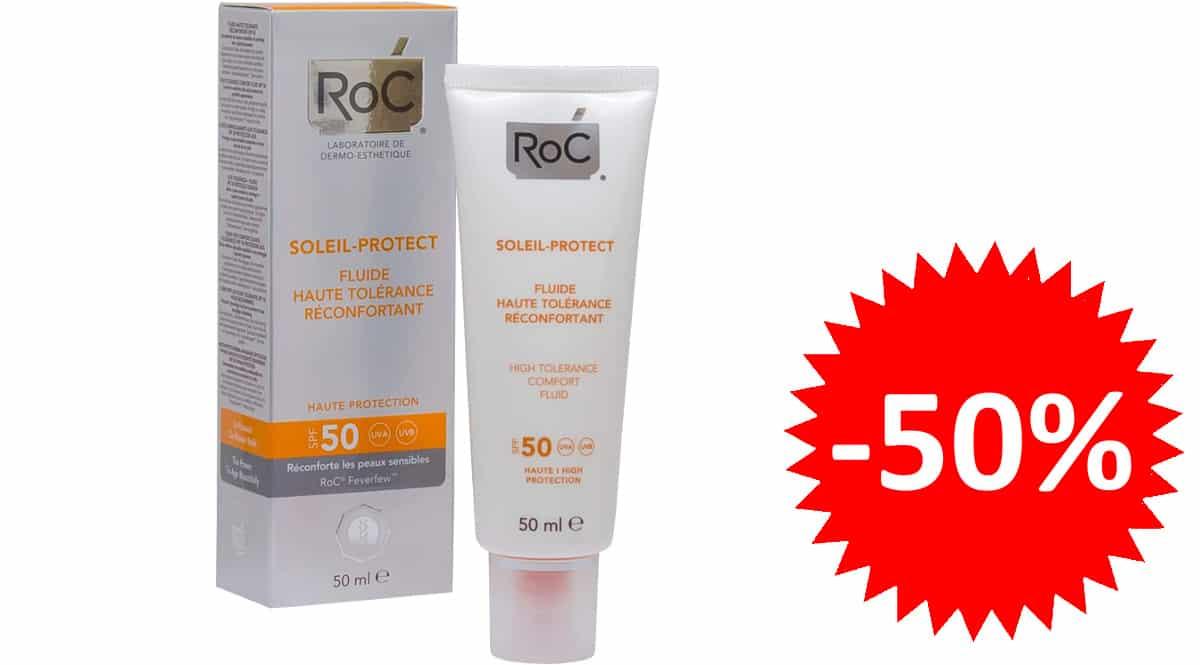 Crema con protección SPF50 ROC Soleil Protect barata, protectores solares de marca baratos, ofertas en belleza, chollo