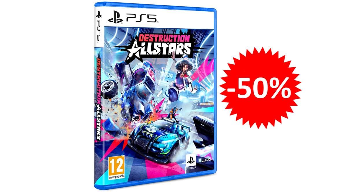 ¡Precio mínimo histórico! Destruction Allstars para PS5 sólo 10 euros. 50% de descuento.