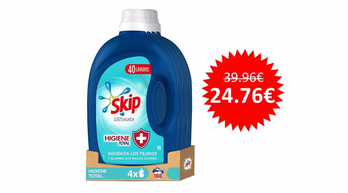 ¡Precio mínimo histórico! Detergente Skip Ultimate Higiene Total, 160 lavados, sólo 24 euros.