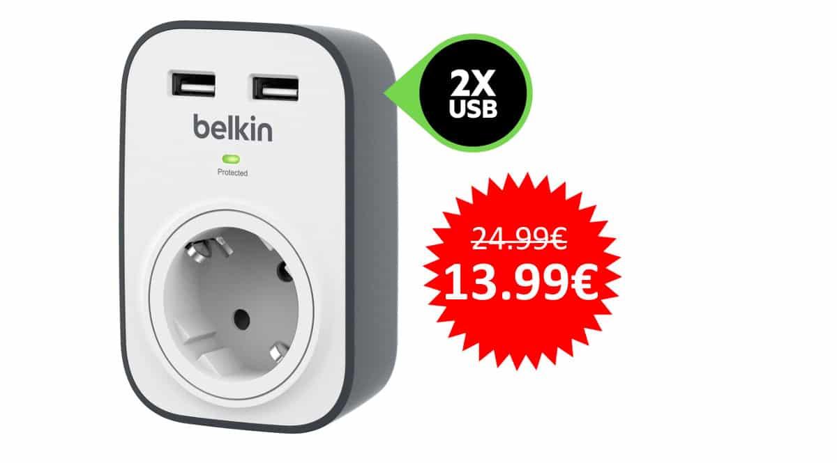 ¡¡Chollo!! Enchufe con protección contra sobretensiones Belkin BSV103 sólo 13.99 euros.