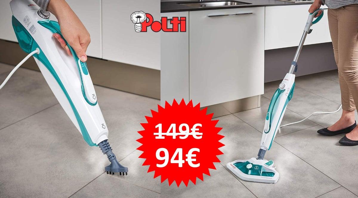 Escopa a vapor con limpiador portátil y 13 accesorios Polti Vaporetto SV450_DOUBLE barata, limpiador a vapor de marca barato, ofertas hogar, chollo