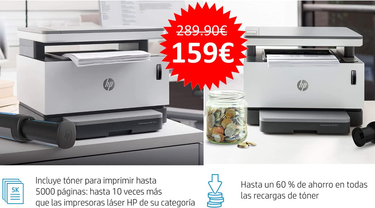 ¡Precio mínimo histórico! Impresora multifunción HP Neverstop Laser 1201n sólo 159 euros. Te ahorras 131 euros.