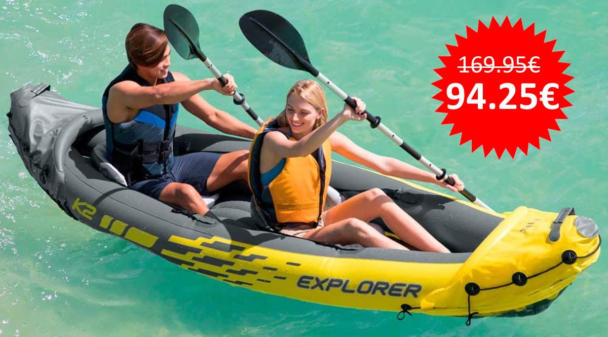 ¡¡Chollo!! Kayak hinchable Intex Explorer K2 con 2 remos sólo 94 euros. Te ahorras 75 euros.