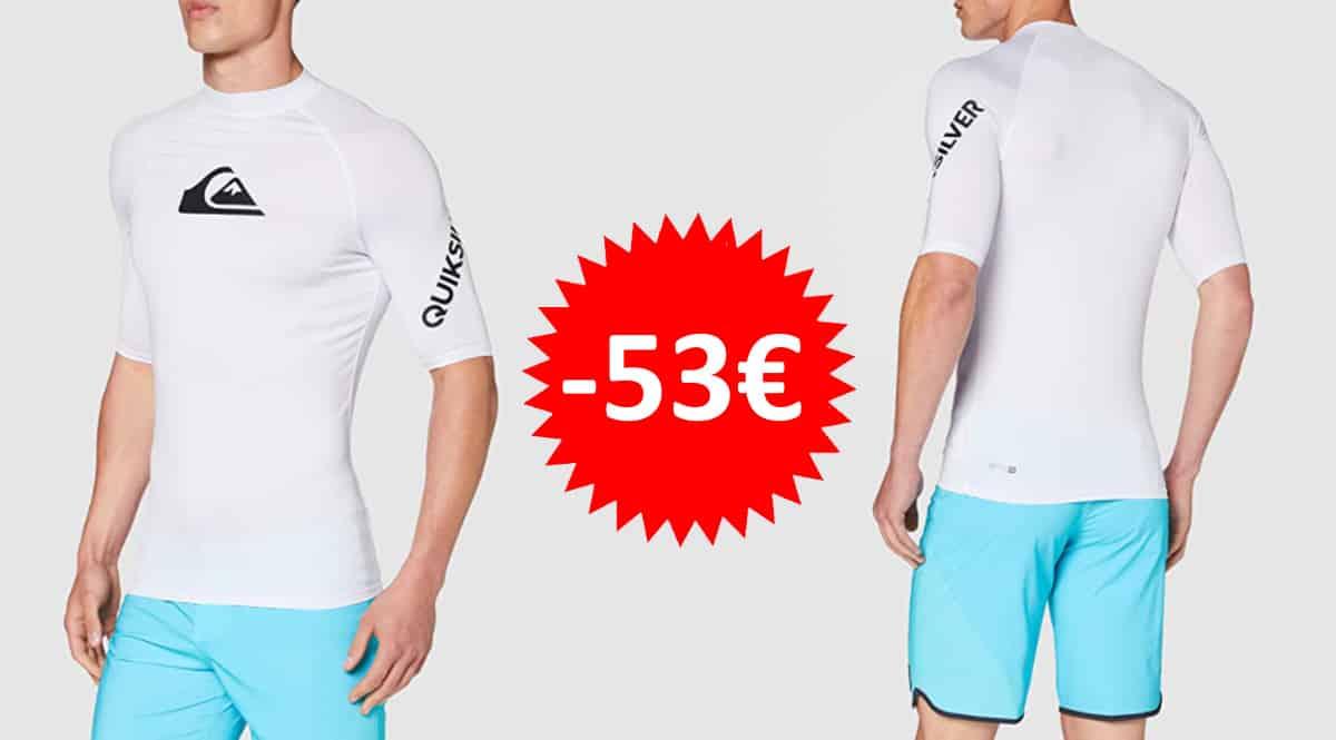 Licra con protección solar Quiksilver All Time barata, camisetas de licra de marca baratas, ofertas en ropa de deporte, chollo