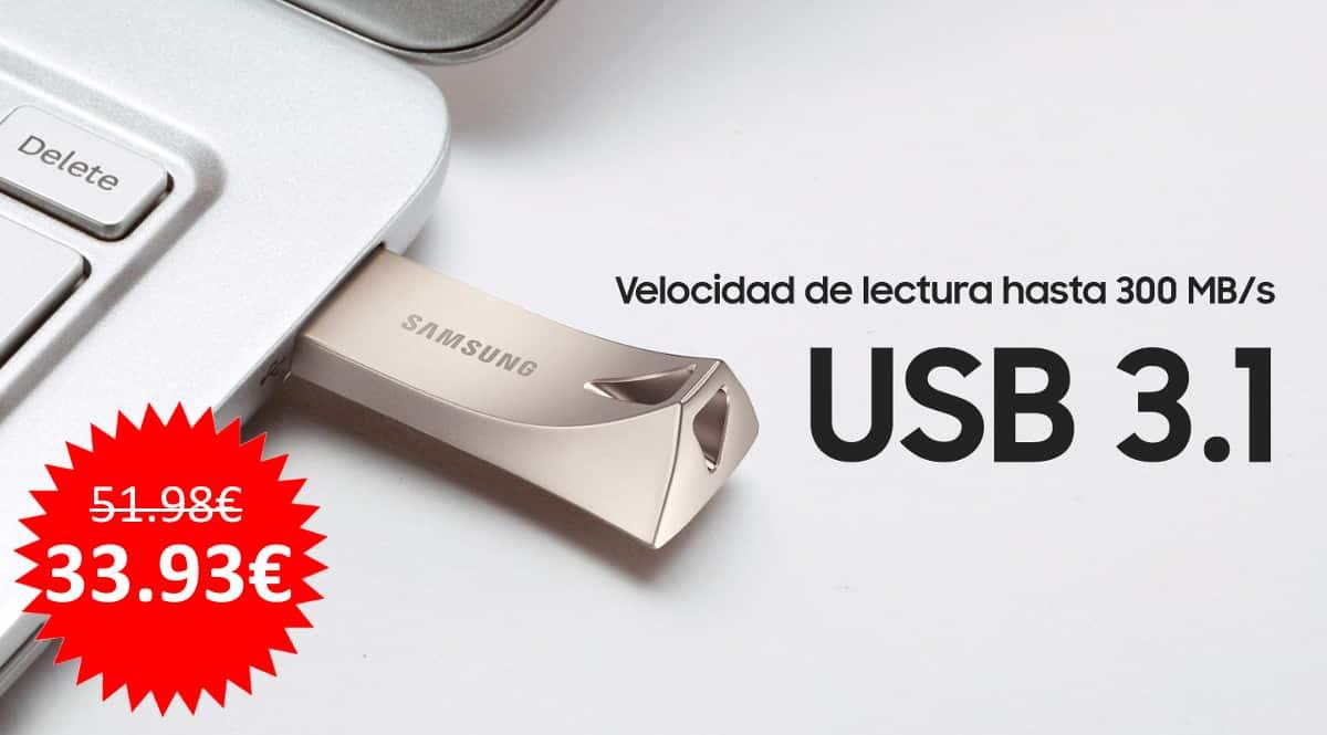 ¡¡Chollo!! Memoria USB 3.1 Samsung BAR Titan Silver Plus de 256GB sólo 33.93 euros.