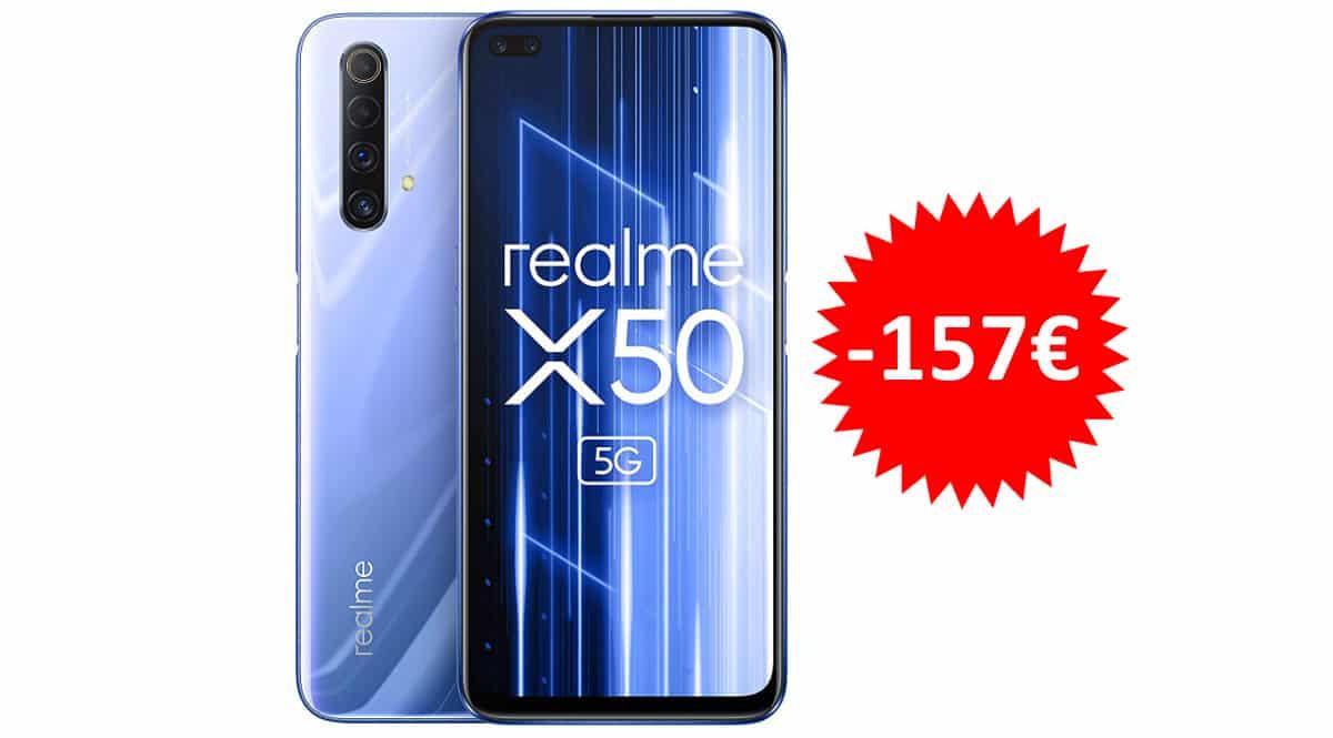 ¡Código descuento! Móvil Realme X50 5G de 6.57″ y 6GB/128GB sólo 192 euros. Te ahorras 157 euros.
