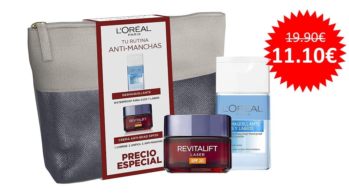 ¡Precio mínimo histórico! Neceser L'Oreal con crema antiedad Revitalift Laser X3 + desmaquillante suave ojos y labios sólo 11.90 euros.
