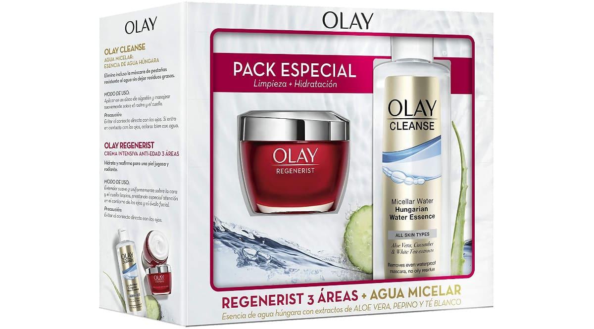 Pack Olay con crema de día Regenerist + agua micelar Cleanse barato, cremas de marca baratas, ofertas en belleza, chollo