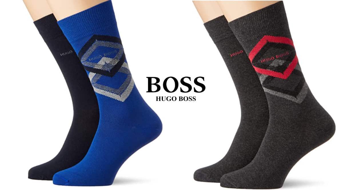Pack de 2 pares de calcetines Hugo Boss Diamond baratos, calcetines de marca baratos, ofertas en ropa, chollo