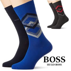 Pack de 2 pares de calcetines Hugo Boss Diamond baratos, calcetines de marca baratos, ofertas en ropa