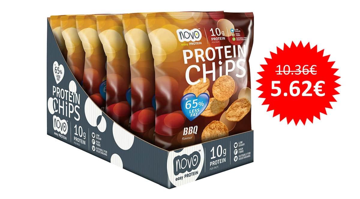 ¡Precio mínimo histórico! Pack de 6 bolsas de 30g de Protein Chips BBQ de Novo Nutrition sólo 5.62 euros.