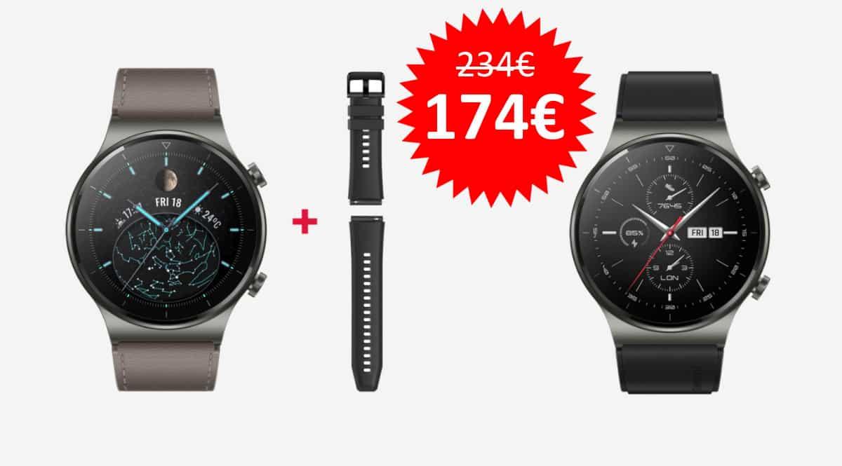 ¡Código descuento! Smartwatch Huawei Watch GT 2 Pro + correa extra sólo 174 euros. Te ahorras 60 euros. En negro y en gris.