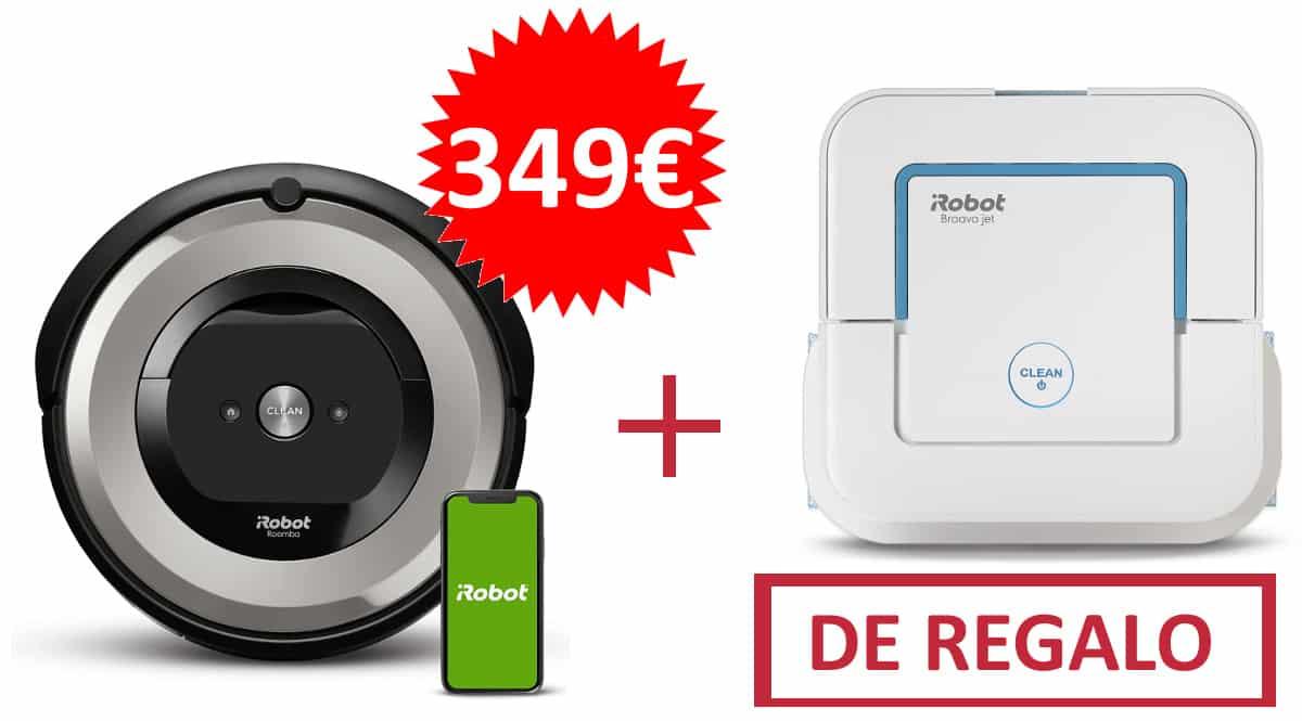 Robot aspirador iRobot Roomba e5154 Wifi + friegasuelos iRobot Braava jet 250 baratos, robots aspiradores de marca baratos, ofertas hogar, chollo