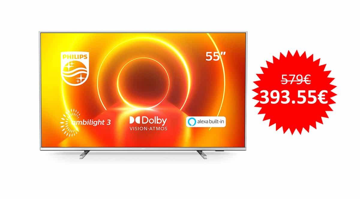 ¡Precio mínimo histórico! Televisor 4K UHD de 55″ Philips 55PUS7855/12 Ambilight sólo 393 euros. Te ahorras 185 euros.
