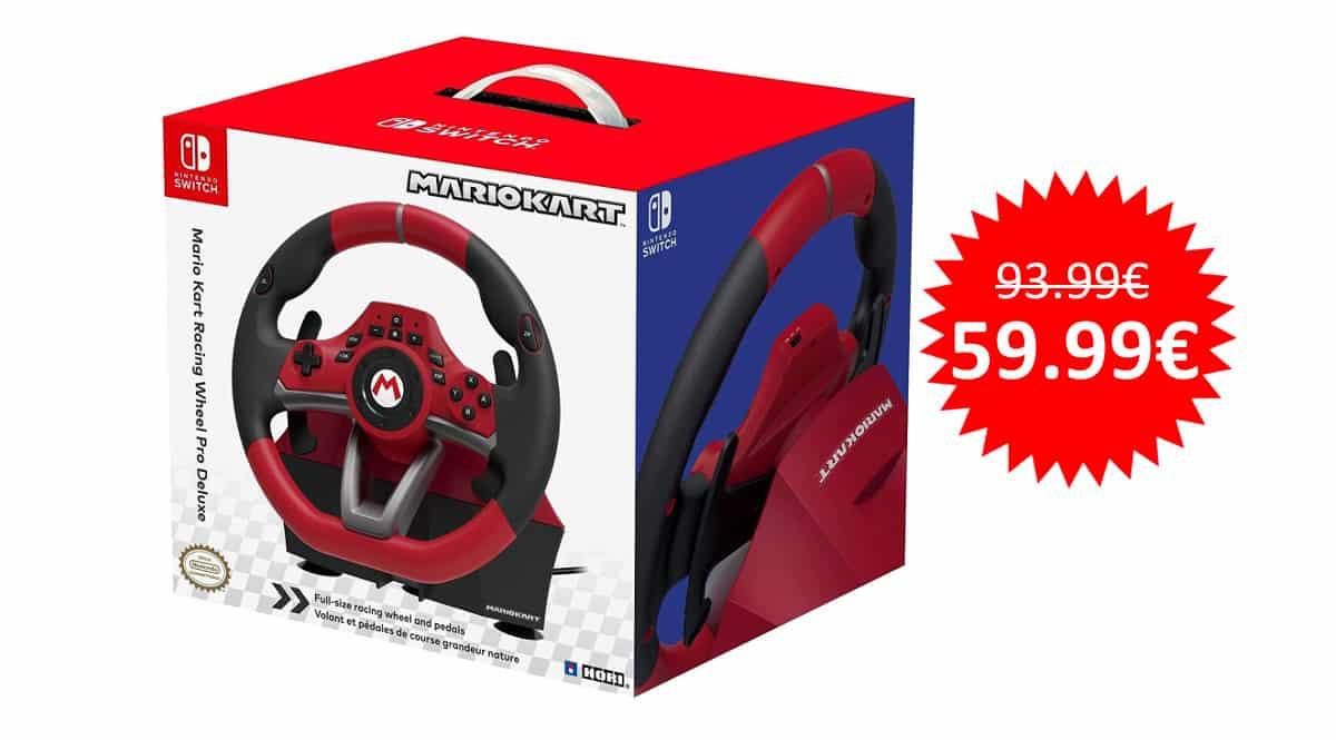 ¡Precio mínimo histórico! Volante Mario Kart Deluxe Pro de Hori para Switch/PC sólo 59.99 euros.